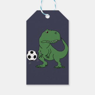 Funny Green T-rex Dinosaur Playing Soccer Gift Tags