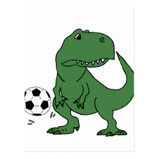 Funny Green T-rex Dinosaur Playing Soccer Postcard