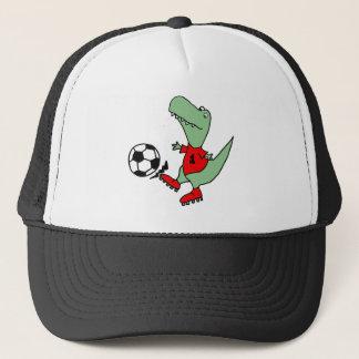 Funny Green T-rex Dinosaur Playing Soccer Trucker Hat
