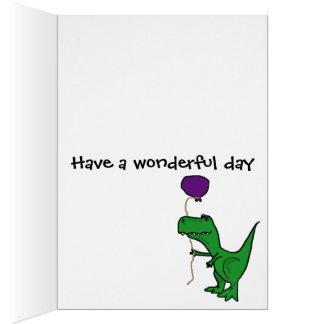 Funny Green Trex Dinosaur Holding Balloon Card
