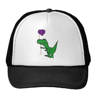 Funny Green Trex Dinosaur Holding Balloon Hats