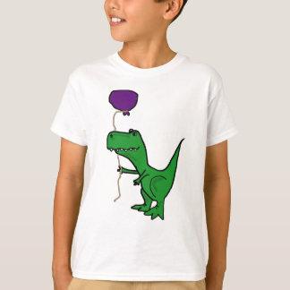 Funny Green Trex Dinosaur Holding Balloon T-Shirt