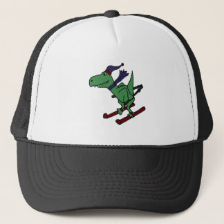 Funny Green Trex Dinosaur Skiing Trucker Hat