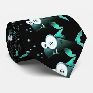 Funny,green  ugly piranha with black background tie