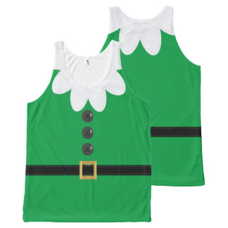 Funny Green XL Christmas Elf in July Tank Top