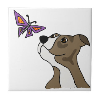 Funny Grey and White Pitbull and Butterfly Small Square Tile