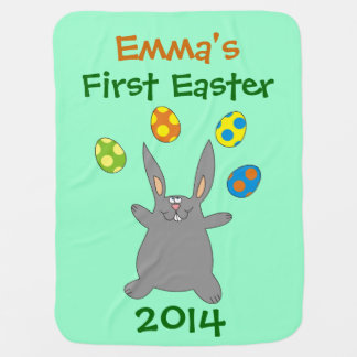Funny Grey Bunny Juggling Easter Eggs Baby Blanket