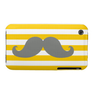 Funny Grey Mustache Yellow Stripes iPhone 3 Cover