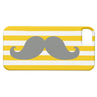 Funny Grey Mustache Yellow Stripes Case For The iPhone 5