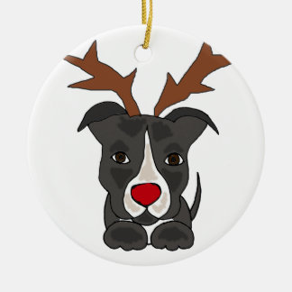 Funny Grey Pitbull Dog as Christmas Reindeer Round Ceramic Decoration