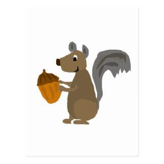 Funny Grey Squirrel with Acorn Postcard