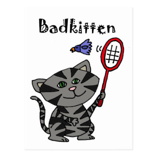 Funny Grey Tiger Cat Playing Badminton Postcard