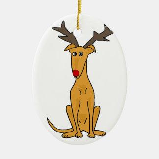 Funny Greyhound Dog as Christmas Reindeer Ceramic Ornament