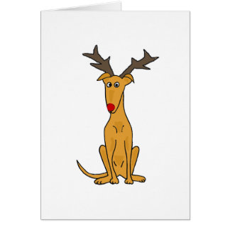 Funny Greyhound Dog as Christmas Reindeer Greeting Card