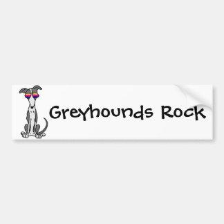 Funny Greyhound Dog in Sunglasses Bumper Sticker