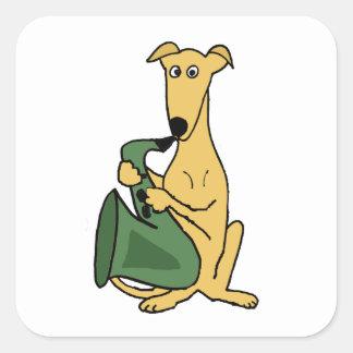 Funny Greyhound Dog Playing Saxophone Art Square Sticker