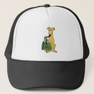 Funny Greyhound Dog Playing Saxophone Art Trucker Hat