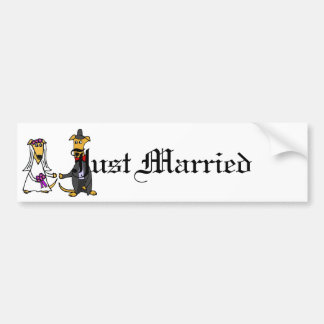 Funny Greyhound Dogs Bride and Groom Bumper Sticker