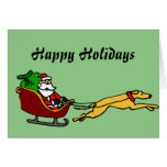 Funny Greyhound Pulling Christmas Sleigh Greeting Card
