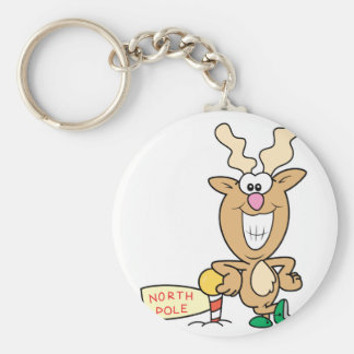 Funny Grinning Reindeer at North Pole Basic Round Button Key Ring