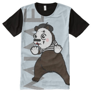 FUNNY GRIZZLY BEAR MIME ALL OVER PRINT T-SHIRT
