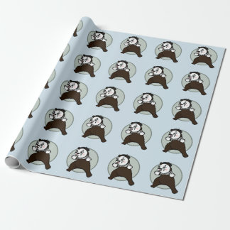 FUNNY GRIZZLY BEAR MIME MATTE WRAPPING PAPER