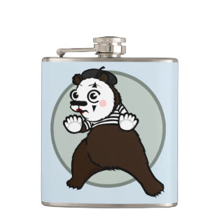 FUNNY GRIZZLY BEAR MIME VINYL FLASK