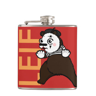 FUNNY GRIZZLY BEAR MIME VINYL WRAPPED FLASK