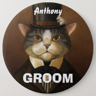 Funny groom cat 6 cm round badge