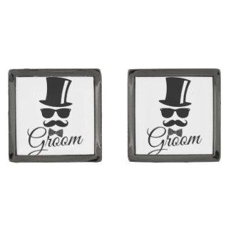 Funny groom gunmetal finish cuff links