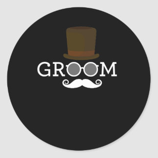 Funny Groom Mustache & Hat  for Bachelor's Party Classic Round Sticker