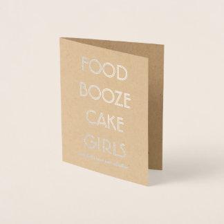 Funny Groomsman or Best Man  FOOD BOOZE CAKE GIRLS Foil Card