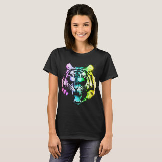 Funny Growling Tiger With Rainbow Color And Glasse T-Shirt