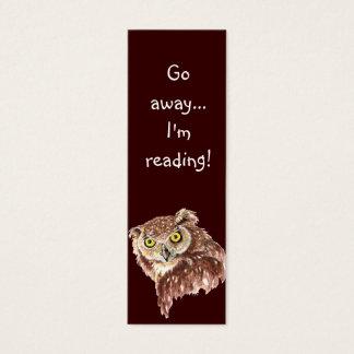 Funny Grumpy Owl, Go Away I'm Reading, Bookmark Mini Business Card