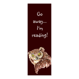 Funny Grumpy Owl, Go Away I'm Reading, Bookmark Pack Of Skinny Business Cards