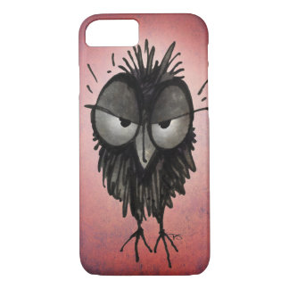 Funny Grumpy Owl on Pink iPhone 7 Case