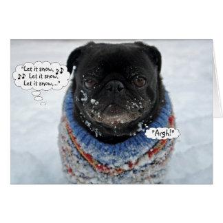 Funny Grumpy Pug Christmas Card