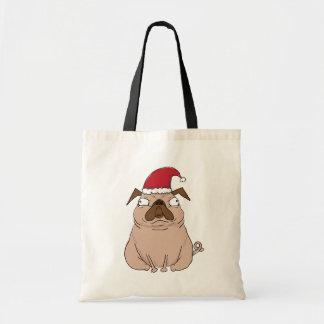 Funny Grumpy Santa Pug Christmas Tote
