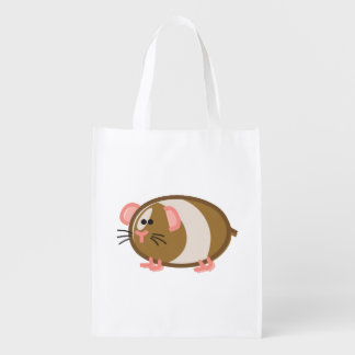 Funny Guinea Pig on White Reusable Grocery Bag