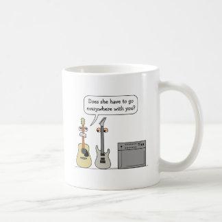 Funny Guitar Third Wheel Cartoon Scene Coffee Mug