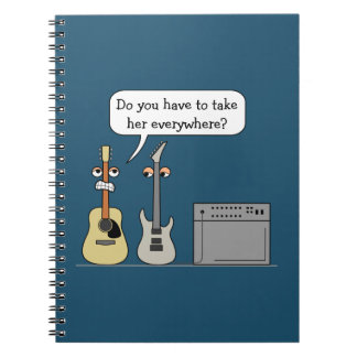 Funny Guitar Third Wheel Cartoon Scene Spiral Notebook