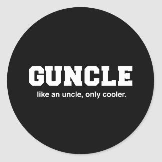 Funny Guncle College Print Classic Round Sticker