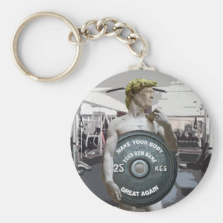 Funny Gym Workout David As Donald Trump Half Body Basic Round Button Key Ring