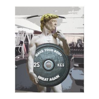 Funny Gym Workout David As Donald Trump Half Body Canvas Print