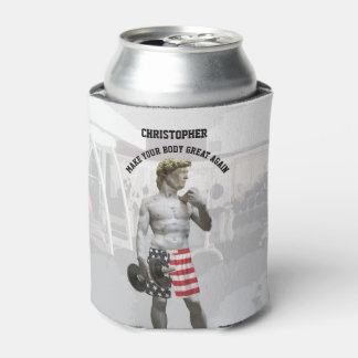 Funny Gym Workout Donald Trump With Dumbbell Can Cooler