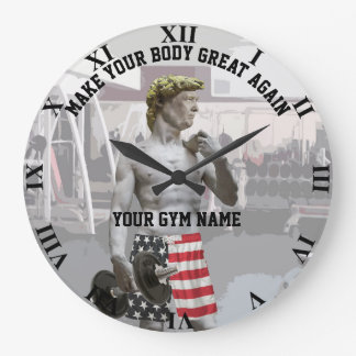 Funny Gym Workout Donald Trump With Dumbbell Large Clock