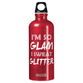 Funny gym workout quote I'm so glam sweat glitter Water Bottle