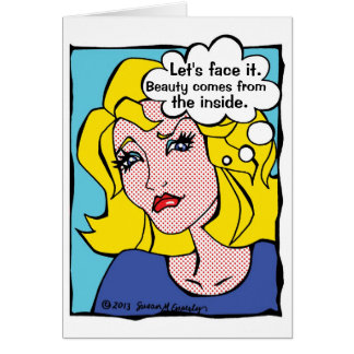 Funny Hair Salon Comic Book Woman Card