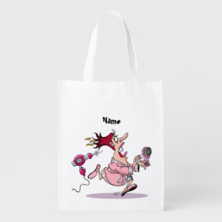 Funny Hairdresser hairstylist cartoon personalized Reusable Grocery Bags