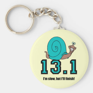Funny half marathon basic round button key ring
